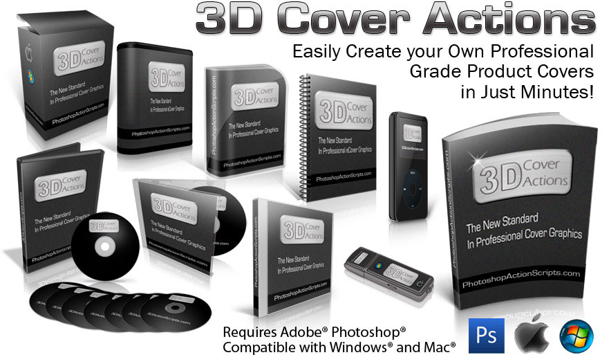3d cover software photoshop actions